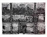 Large Citynightscape by Stephen Baker, Drawing, Sgraffito - watercolour on oil pastel